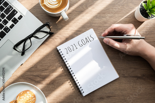 Obraz Man is writing 2021 goals for new year resolutions plan. - fototapety do salonu