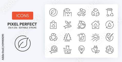 ecology line icons 256 x 256