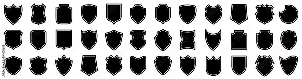 Fototapeta Set different shields icons, protect signs, collection shields button – stock vector