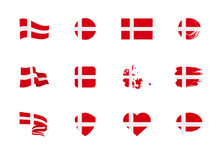 Denmark Flag - Flat Collection. Flags Of Different Shaped Twelve Flat Icons.