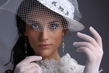 Beautiful Girl In A Hat With A Veil Of The XIX Century
