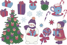Big Vector Set Of Christmas Objects. Gift Boxes, Christmas Tree, Decorations, Snowman, Kid, Candies, Snowflakes And Stars. Xmas Icons Collection.