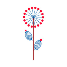 Scandinavian Flower Blue And Red, Minimalistic Nordic Style. Vector Illustration On An Isolated White Background. Flower Head, Petals, Leaves And Branches. Fantasy Folk Hand Drawn Decoration Elements.