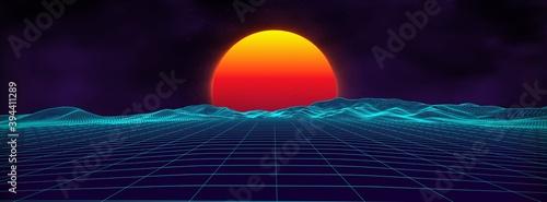 Fototapeta 80s background retro landscape. Futuristic neon 1980s style. Cyber surface. Party background. Retro 80s fashion Sci-Fi Summer Landscape Background. obraz na płótnie