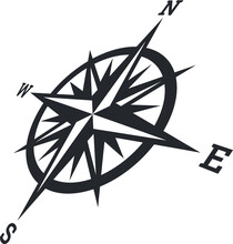 Vector Illustration Of The Compass Rose Showing The Four Cardinal Directions