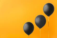 Black Air Balloons On Color Ba...