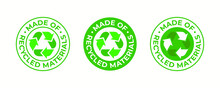 Recycling Icon, Made Of Recycled Materials, Vector, Recyclable Package Sign. Green Eco Bio Recycled And Biodegradable Plastic, Pack Bag Recycling Logo