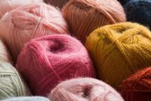 Beige Colors Of Yarn Wool On S...