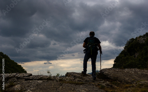 hiker in the gorges of Quirino in Molise oasis wwf Fotobehang