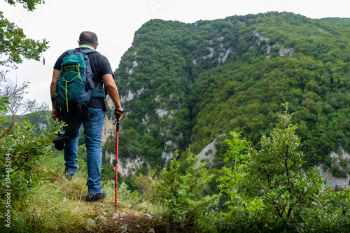 hiker in the gorges of Quirino in Molise oasis wwf Canvas