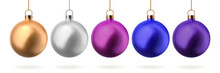 Christmas Balls. Set Of Glass Xmas Toys In Gold Silver Blue Pink And Purple Colors. Vector EPS 10