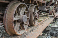 Wheels Of An Old Mining Cart