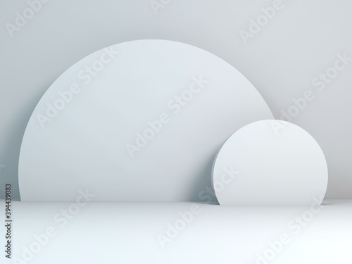 Minimal white still life installation with two circles, 3 d
