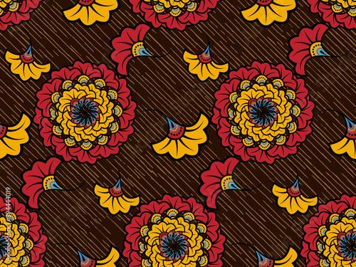 Fototapeta African Wax Print fabric, Ethnic handmade ornament seamless design, tribal pattern motifs floral elements. Vector texture, afro colorful textile Ankara fashion style. Pareo wrap dress wedding flowers obraz