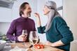 Leinwandbild Motiv Couple drinking wine together