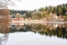 Houses At Lake, Sweden