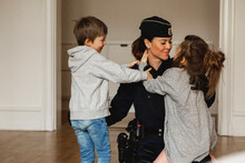 Police Woman With Children, Sweden