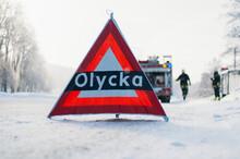 Accident Sign On Road, Sweden
