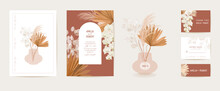 Watercolor Wedding Dried Lunaria, Orchid, Pampas Grass Floral Invitation. Vector Exotic Dry Flowers, Palm Leaves