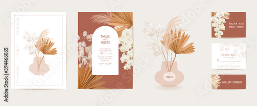 Fototapeta Watercolor wedding dried lunaria, orchid, pampas grass floral invitation. Vector exotic dry flowers, palm leaves obraz