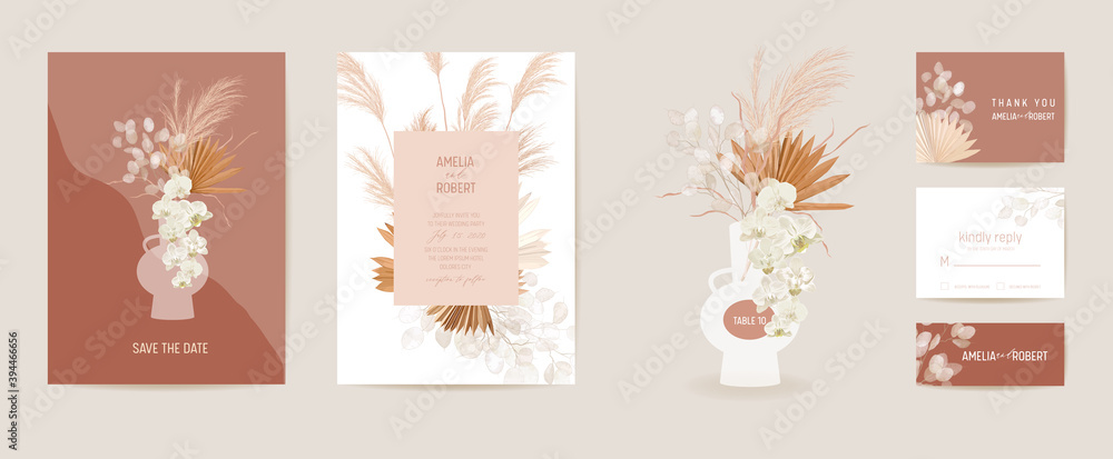 Fototapeta Wedding dried lunaria, orchid, pampas grass floral Card. Vector Exotic dried flowers, palm leaves boho invitation