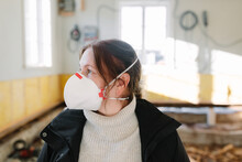 Woman Wearing Protective Mask,...
