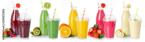 Collection of drinks drink beverages smoothie smoothies fruits fruit juice isolated on white