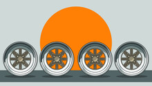 4 Classic Japan Wheels Vector Illustration
