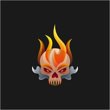 Skull Fire Illustration Logo Vector Design