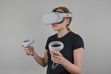 Young Female Wearing A VR Headset