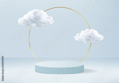Obraz Podium background vector 3d blue rendering with podium and minimal cloud white scene, minimal background 3d rendering geometric shape sky cloud blue pastel. Stage 3d rendering in cloud platform. - fototapety do salonu