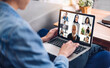 Woman talk speak using laptop computer working and video conference online meeting with colleagues at home.Creative woman talk video chat call with business team.work from home concept