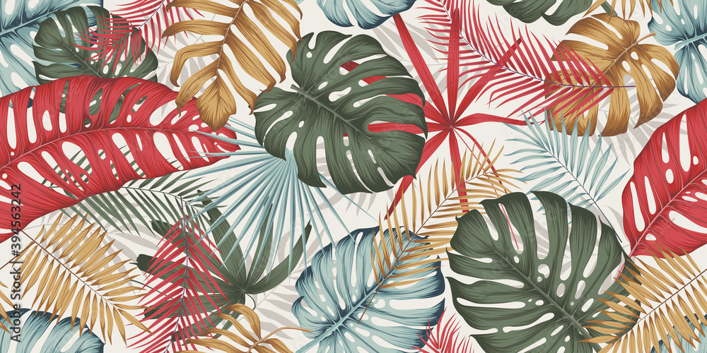 Fototapeta Seamless pattern with colorful leaves, branches and various plants from the tropics and jungle on a light background, composition in trendy contemporary collage style