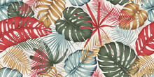 Seamless Pattern With Colorful Leaves, Branches And Various Plants From The Tropics And Jungle On A Light Background, Composition In Trendy Contemporary Collage Style