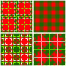 Christmas Plaid Seamless Patterns, Red And Green Digital Paper