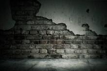 Damaged Brick Wall Of An Aband...