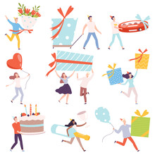 Tiny People Carrying Huge Gift Boxes Set, Tiny Persons Celebrating Birthday Or Important Events Cartoon Style Vector Illustration