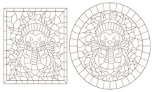 Set Of Contour Illustrations Of Stained Glass Windows With Funny Cartoon Penguines And Holly,  Dark Contours On A White Background