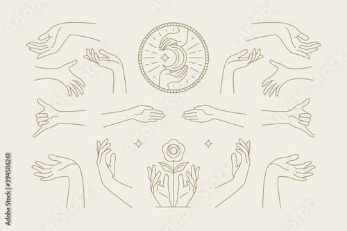 Foto Female hands gestures collection of line art hand drawn style vector illustrations