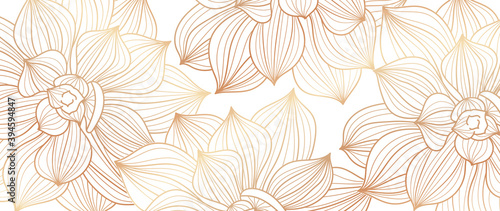 Luxury Lotus line arts hand draw background vector. Design for packaging design, social media post, cover, banner, creative post and wall arts.