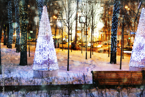 Moscow night boulevards decorated for New Year and Christmas holidays Canvas