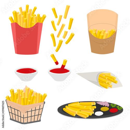 Fototapeta Cartoon Color French Fries Icons Set. Vector obraz