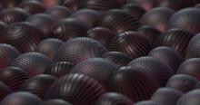 Rotating Shiny Metal Balls Spheres. Abstract Background. Digital Motion Graphics. 3D Illustration Render