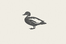 Black Duck Silhouette For Animal Husbandry Industry Hand Drawn Stamp Effect Vector Illustration.