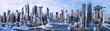 canvas print picture - Future city skyline panorama 3D scene. Futuristic cityscape creative concept illustration: skyscrapers, towers, tall buildings, flying vehicles. Panoramic urban view of megapolis town, sky background