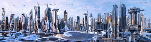 Fototapeta Future city skyline panorama 3D scene. Futuristic cityscape creative concept illustration: skyscrapers, towers, tall buildings, flying vehicles. Panoramic urban view of megapolis town, sky background obraz