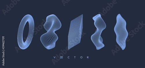 Crystal, wave and ring consisting of small particles. Objects with dots. Molecular grid. 3d vector illustration. Futuristic connection structure for education and science.