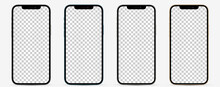 Mockup Smartphone Screen. Collection Of Realistic Smartphones In Different Colors (Pacific Blue, Silver, Space Gray, Gold). High Detail Vector Illustration EPS10