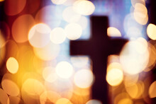 Abstract Cross Silhouette In Church Interior Against Stained Glass Window Concept For Religion And  Prayer