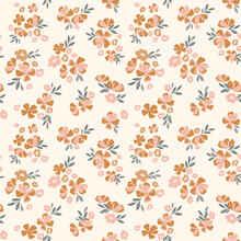 Vintage Ditsy Floral Pattern. Floral Vector Seamless Background In Beige, Brown And Pink. Flower Print For Textile, Fashion, Home Decor, Wallpaper, Gift Wrap.